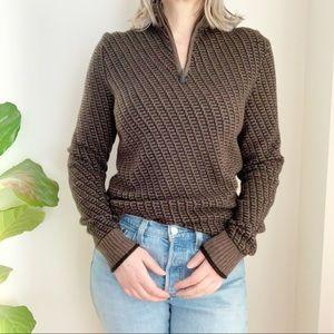 Black Brown 1826 Unisexe Zip Up Sweater Wool Blend